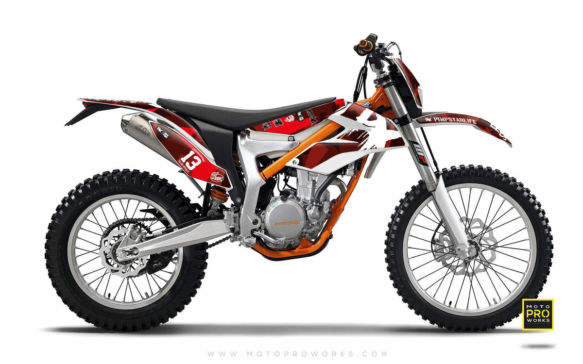 "KTM GRAPHIC KIT - ""M90"" (ruby) - MotoProWorks 