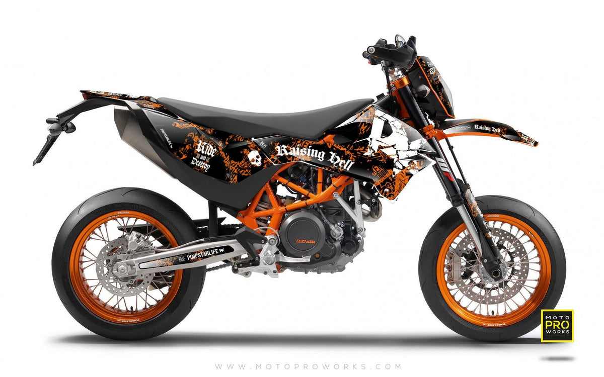 "KTM GRAPHIC KIT - ""Raising Hell"" (orange) - MotoProWorks 
