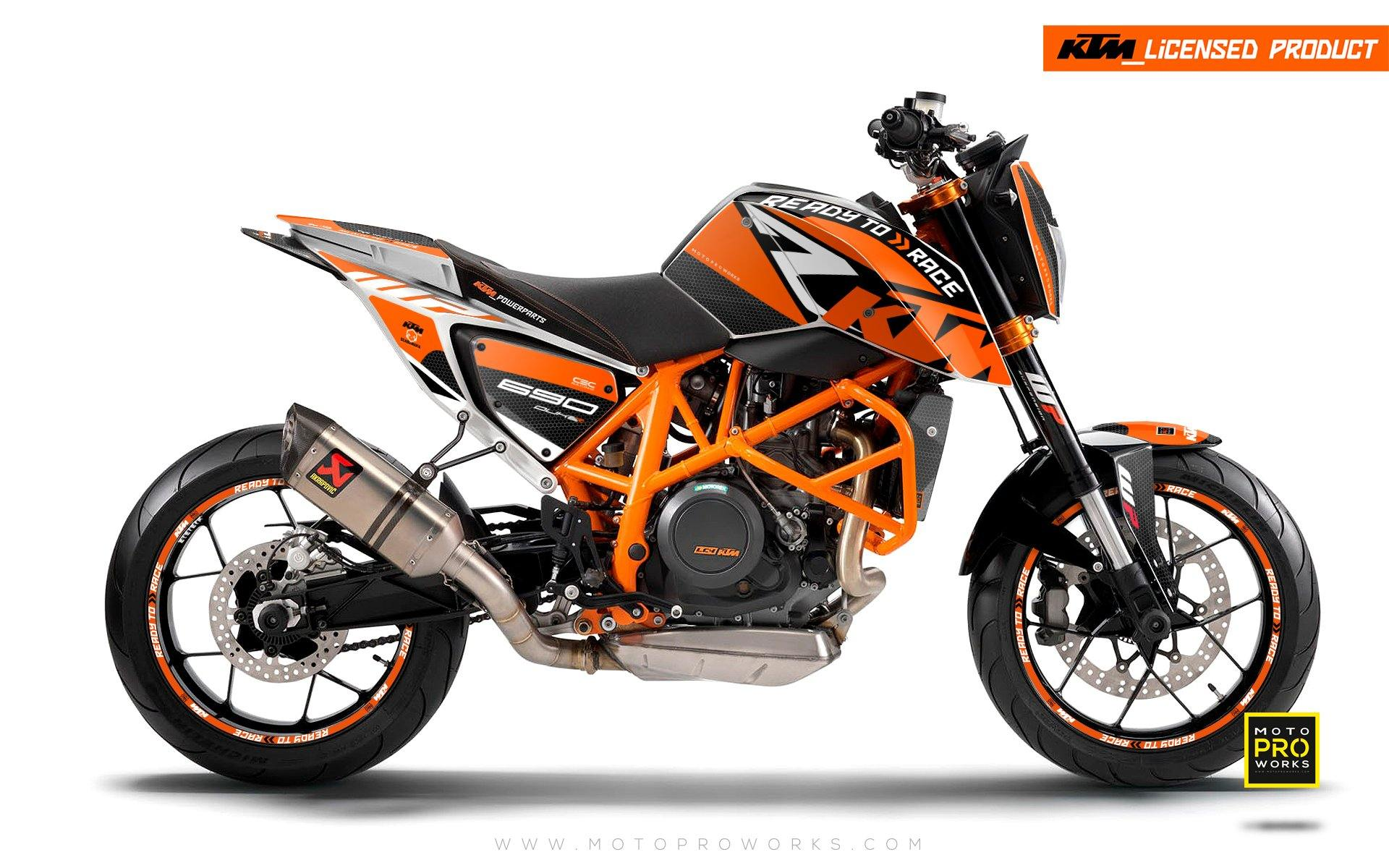 "KTM 690 Duke GRAPHIC KIT - ""RR-Tech"" (Orange)"