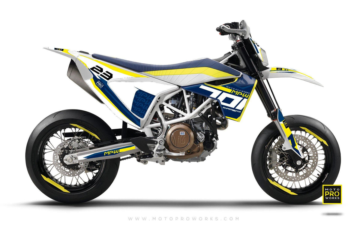 "Husqvarna 701 GRAPHIC KIT - ""SEVENOH"" (Blue/White) - MotoProWorks 