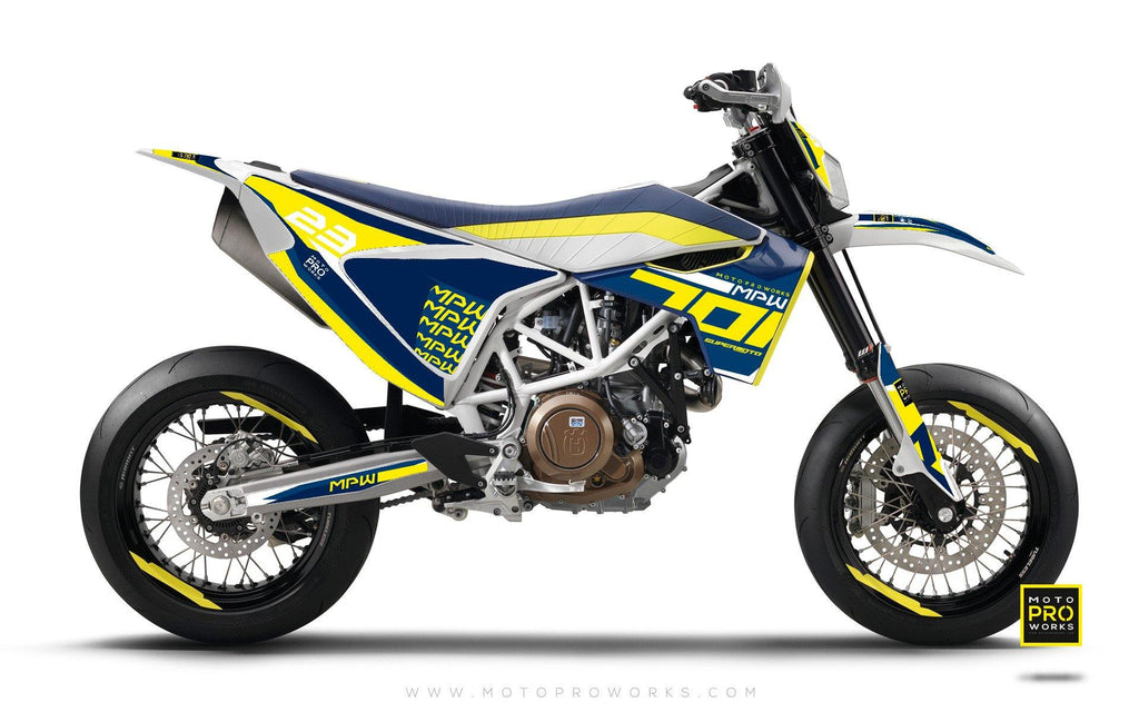 "Husqvarna 701 GRAPHIC KIT - ""SEVENOH"" (Blue/Yellow) - MotoProWorks 