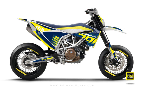"Husqvarna 701 GRAPHIC KIT - ""SEVENOH"" (Blue/Yellow)"