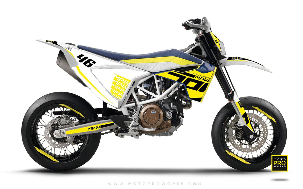 "Husqvarna 701 GRAPHIC KIT - ""SEVENOH"" (yellow) - MotoProWorks 