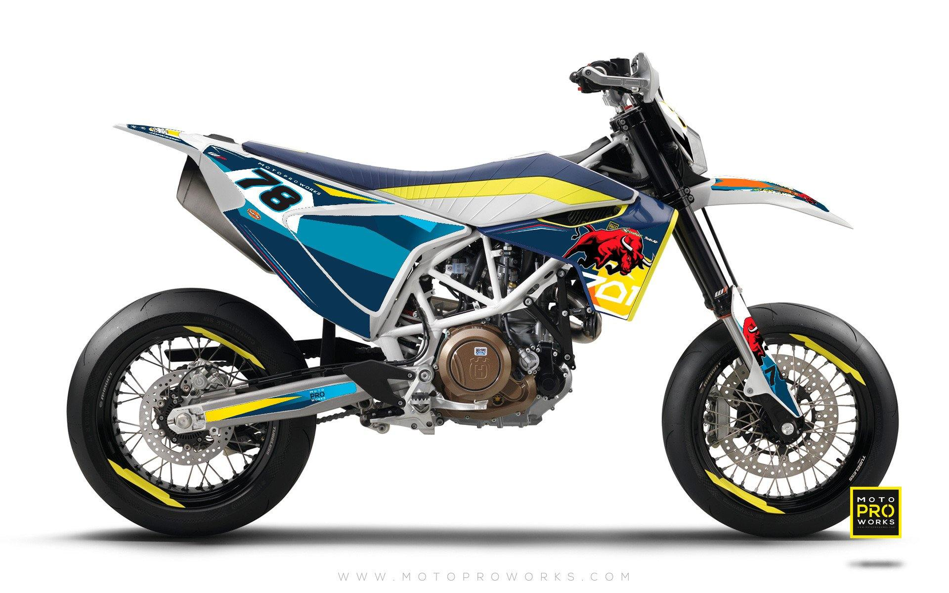 "Husqvarna 701 GRAPHIC KIT - ""TORO"" (blue) - MotoProWorks 