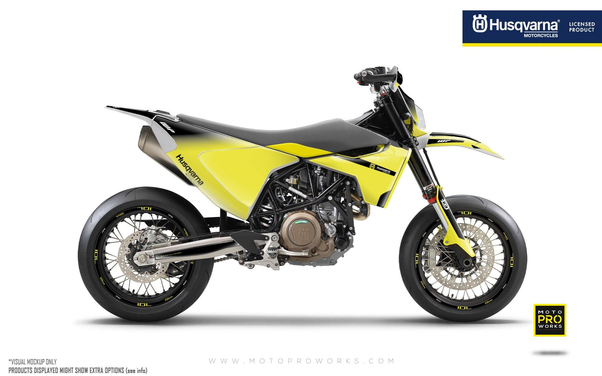 "Husqvarna 701 GRAPHIC KIT - ""Radius"" (Black/Yellow)"