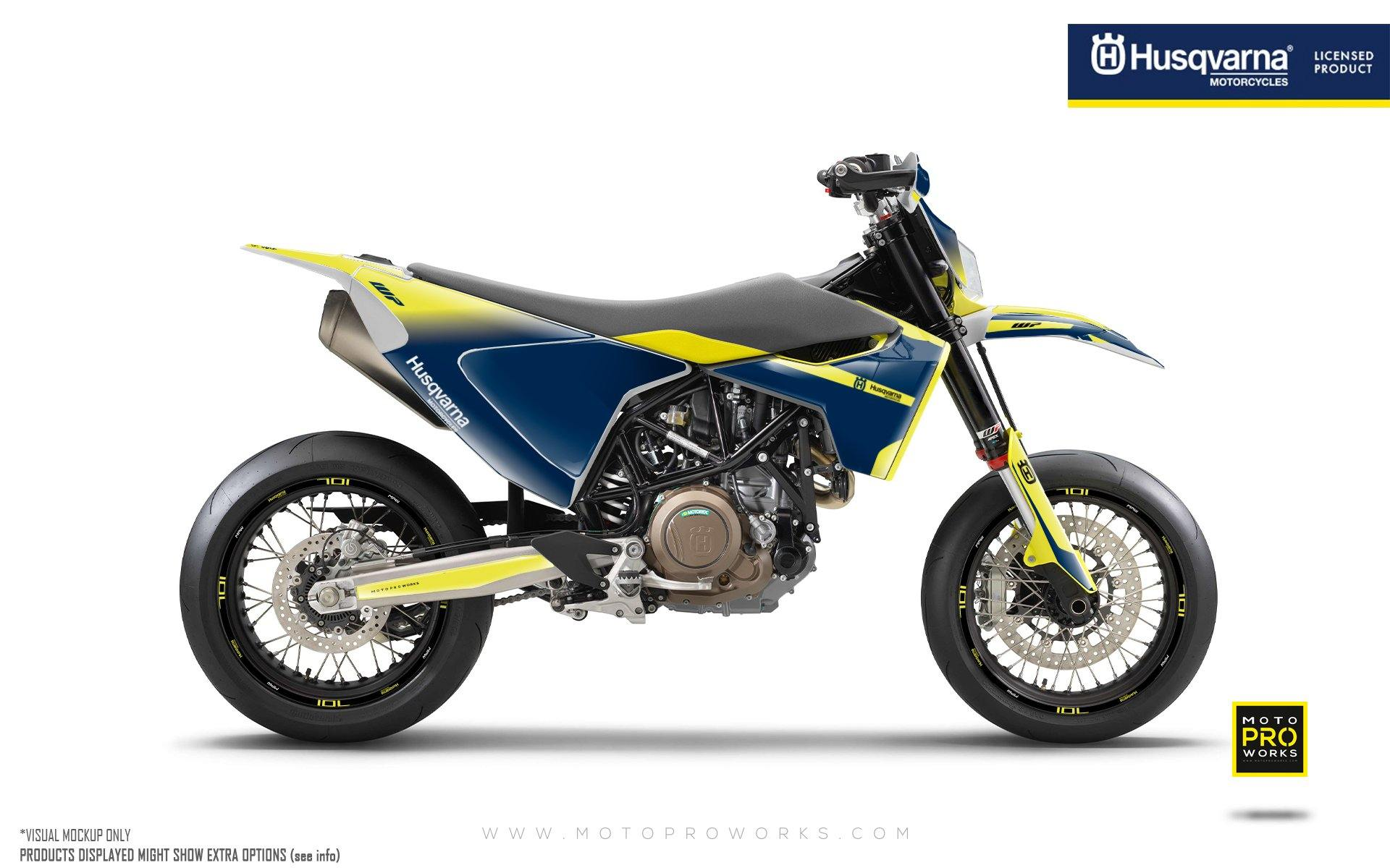 "Husqvarna 701 GRAPHIC KIT - ""Radius"" (Yellow/Blue)"
