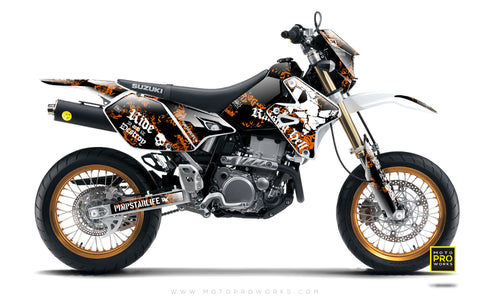 "Suzuki GRAPHIC KIT - ""Raising Hell"" (orange) - MotoProWorks 