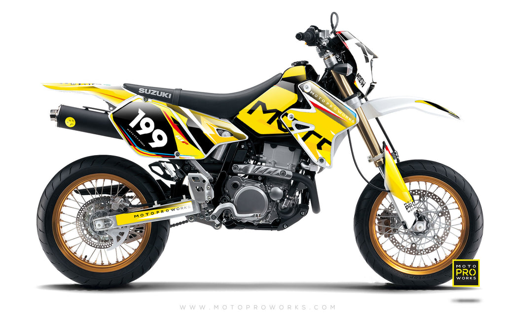 "Suzuki GRAPHIC KIT - ""TECH9"" (mustard) - MotoProWorks 