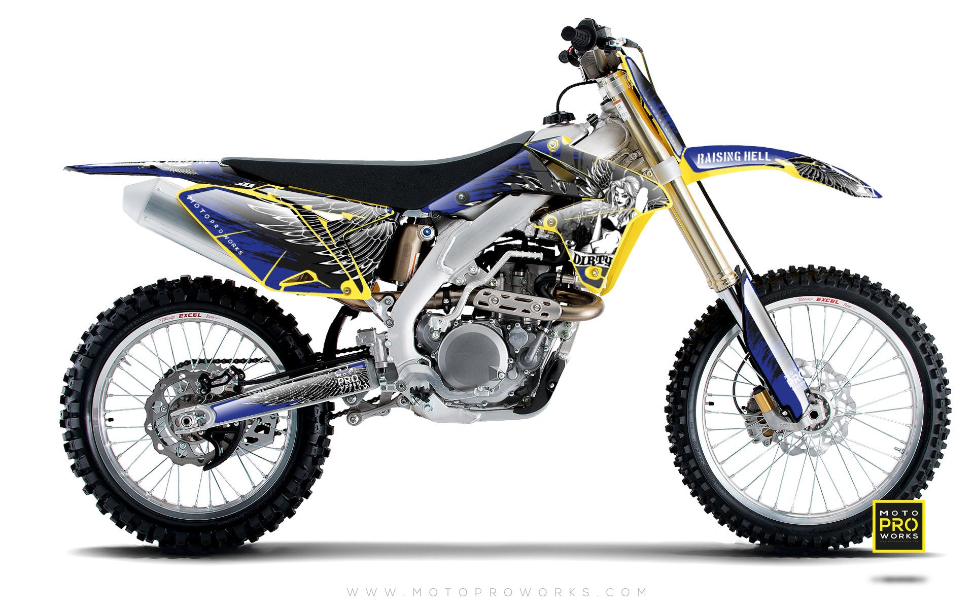 "Suzuki GRAPHIC KIT - ""Dirty Angel"" (blue) - MotoProWorks 