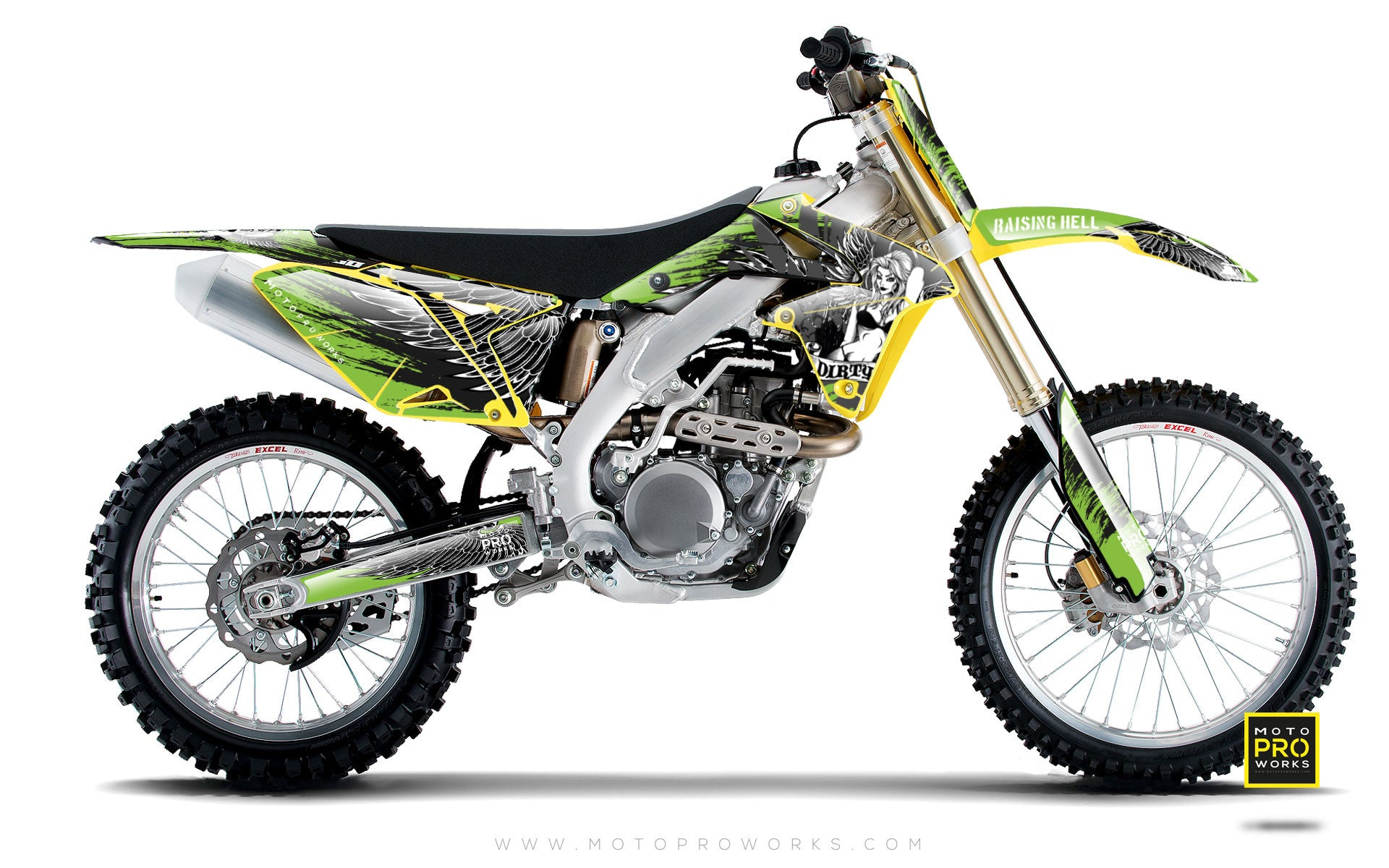 "Suzuki GRAPHIC KIT - ""Dirty Angel"" (green) - MotoProWorks 