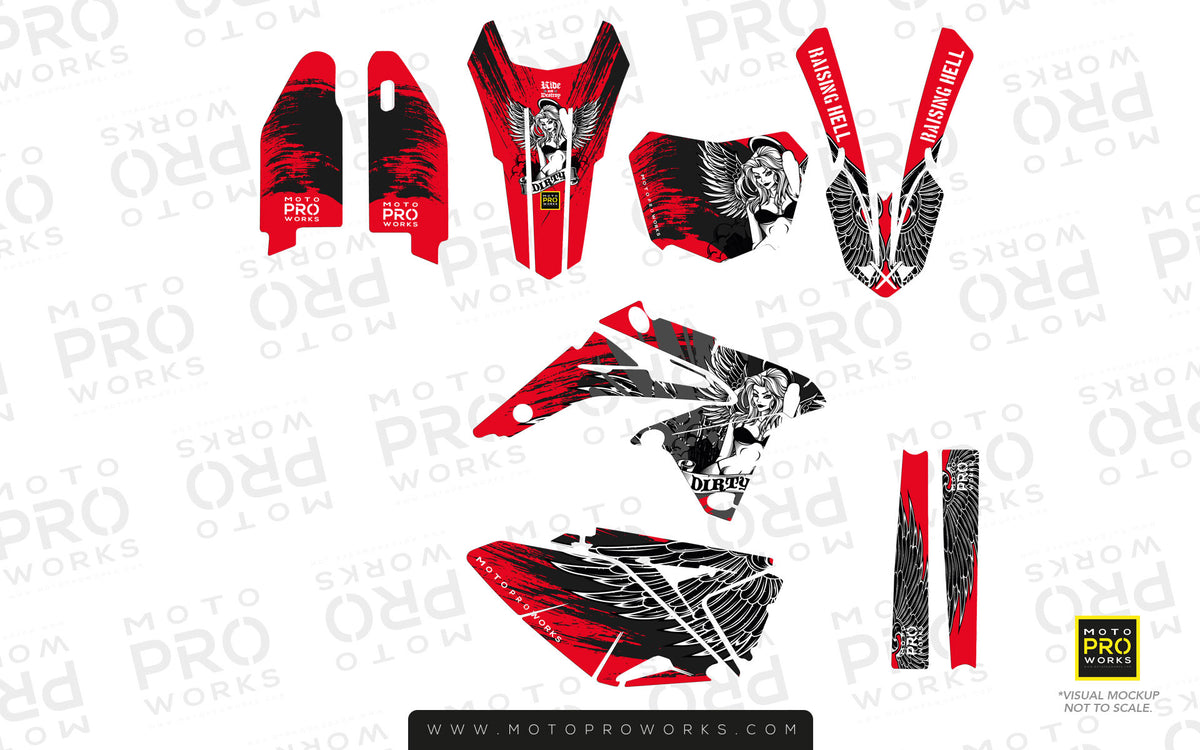 "Suzuki GRAPHIC KIT - ""Dirty Angel"" (red) - MotoProWorks 