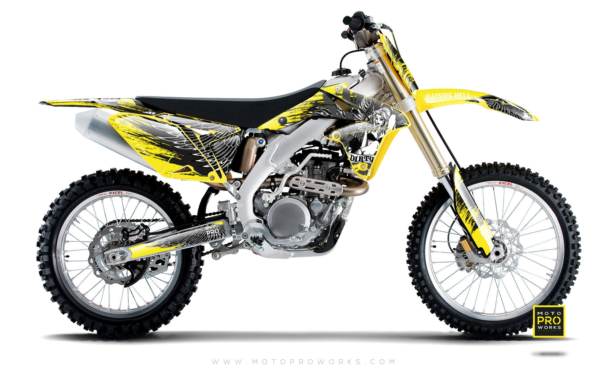 "Suzuki GRAPHIC KIT - ""Dirty Angel"" (yellow) - MotoProWorks 
