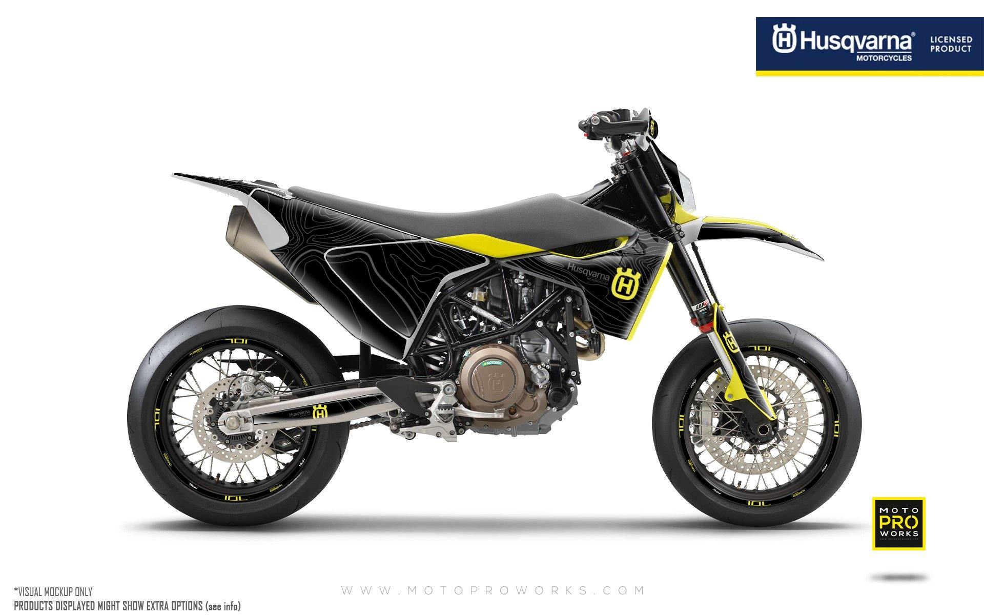 "Husqvarna 701 GRAPHIC KIT - ""Topography"" (Black/Yellow)"
