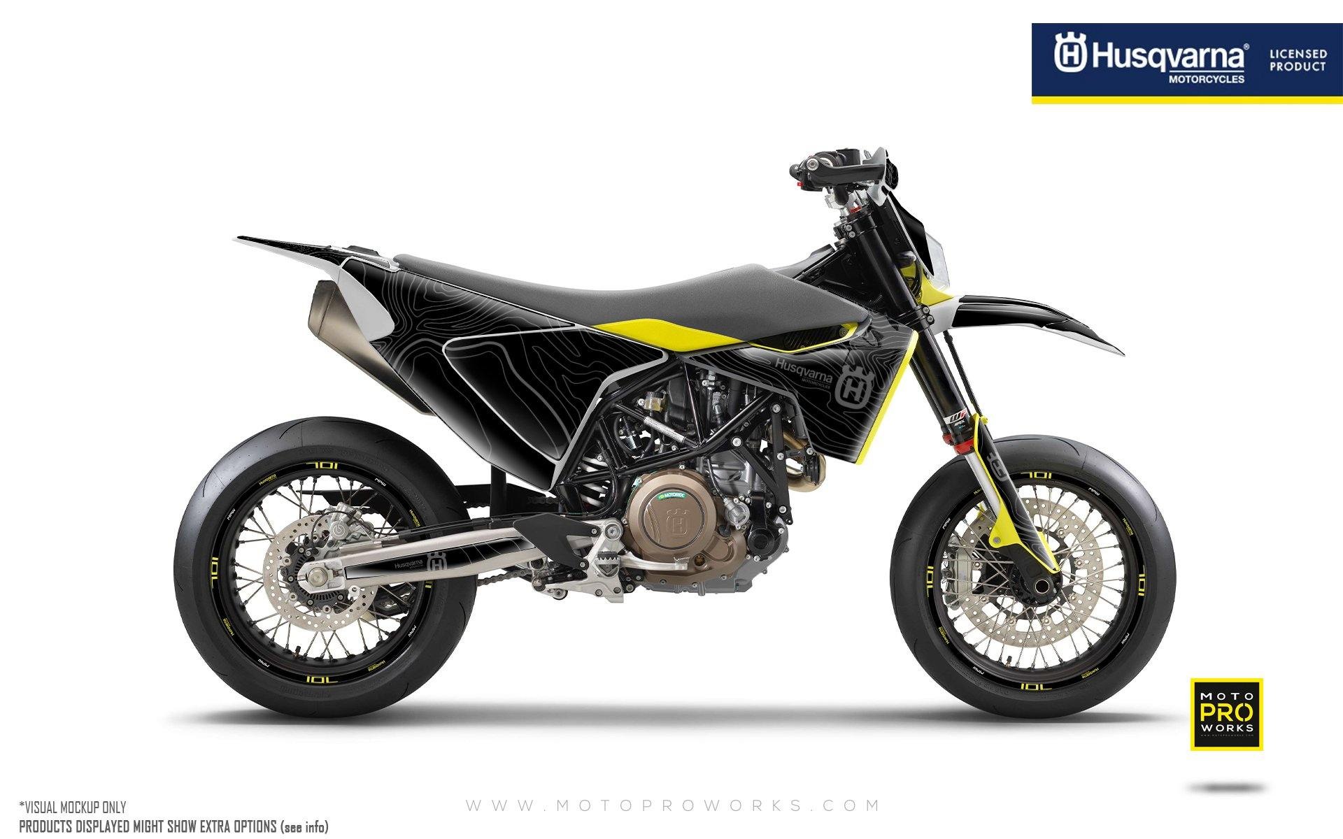 "Husqvarna 701 GRAPHIC KIT - ""Topography"" (Black)"