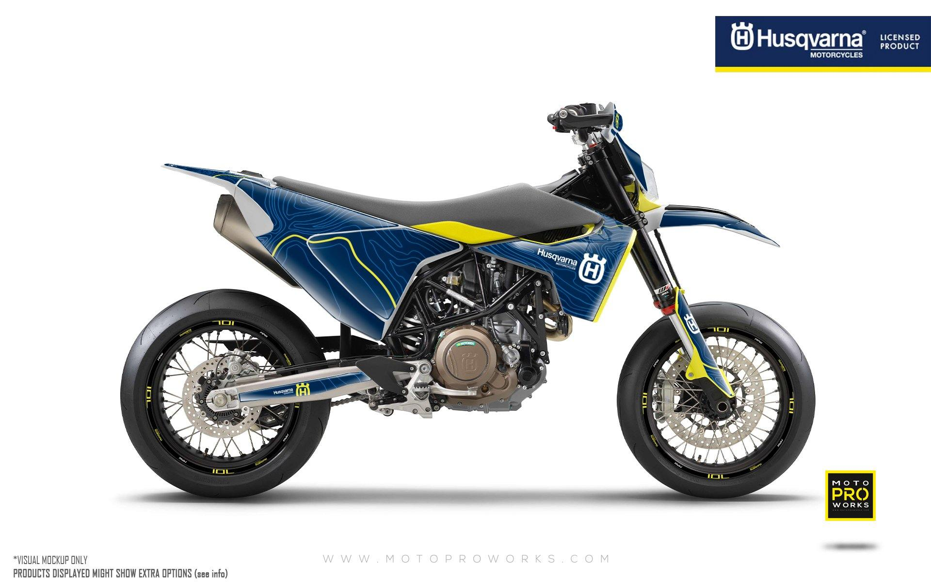 "Husqvarna 701 GRAPHIC KIT - ""Topography"" (Blue)"