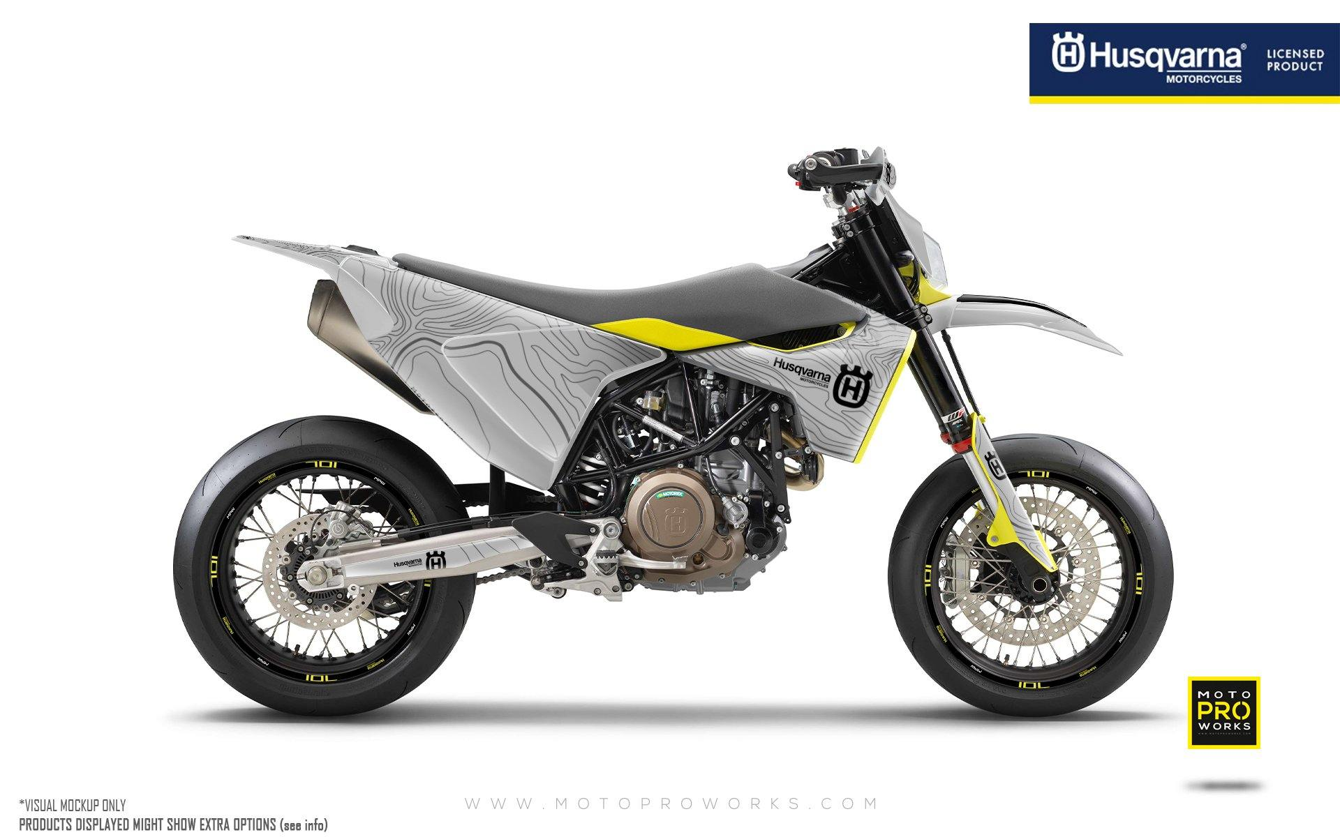 "Husqvarna 701 GRAPHIC KIT - ""Topography"" (Grey)"
