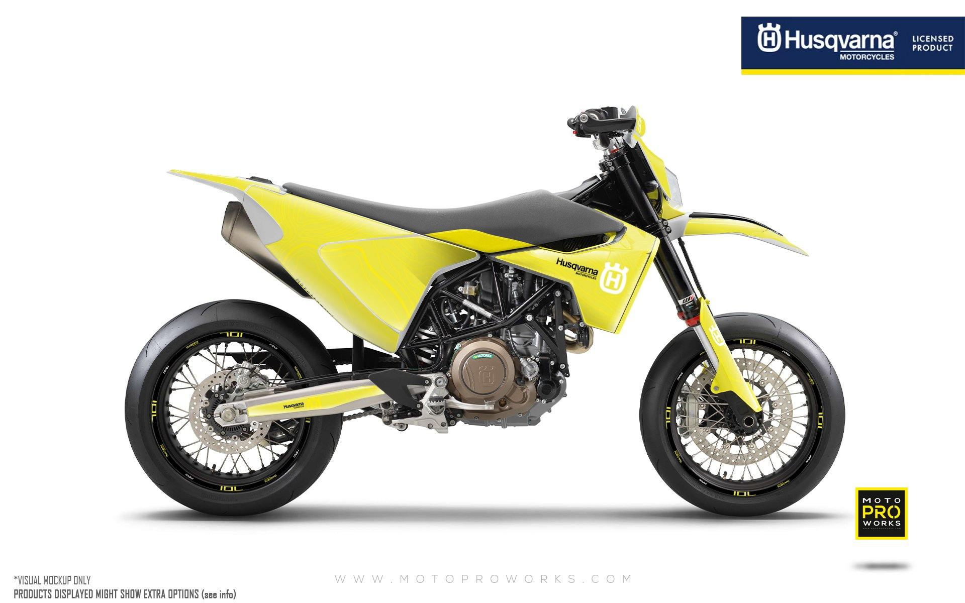 "Husqvarna 701 GRAPHIC KIT - ""Topography"" (Yellow)"