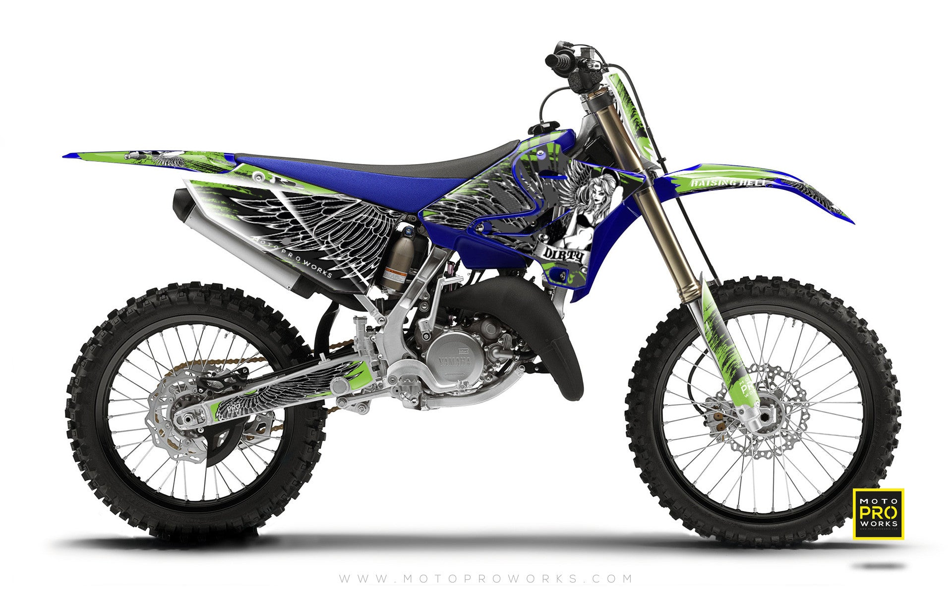 "Yamaha GRAPHIC KIT - ""Dirty Angel"" (green) - MotoProWorks 