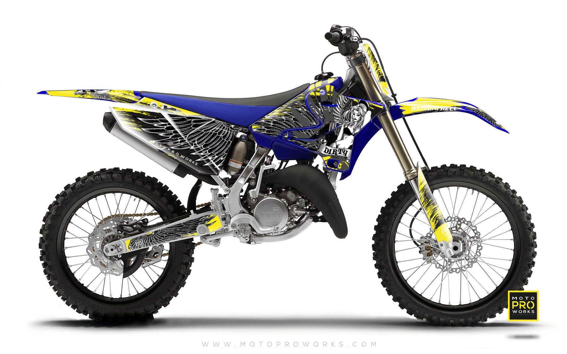 "Yamaha GRAPHIC KIT - ""Dirty Angel"" (yellow) - MotoProWorks 