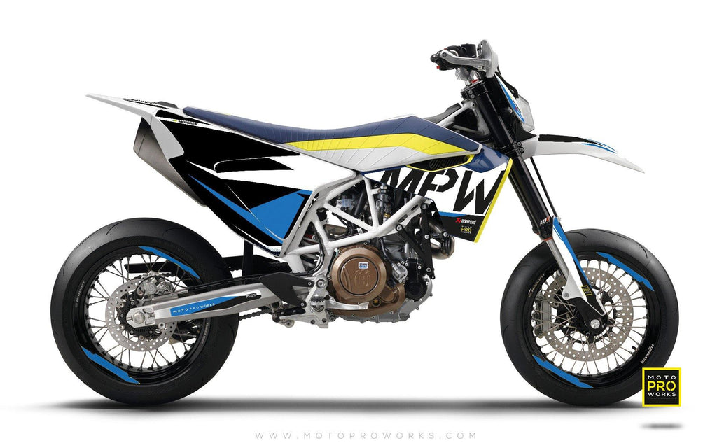 "Husqvarna 2017 GRAPHIC KIT - ""AVIX"" (blue) - MotoProWorks 
