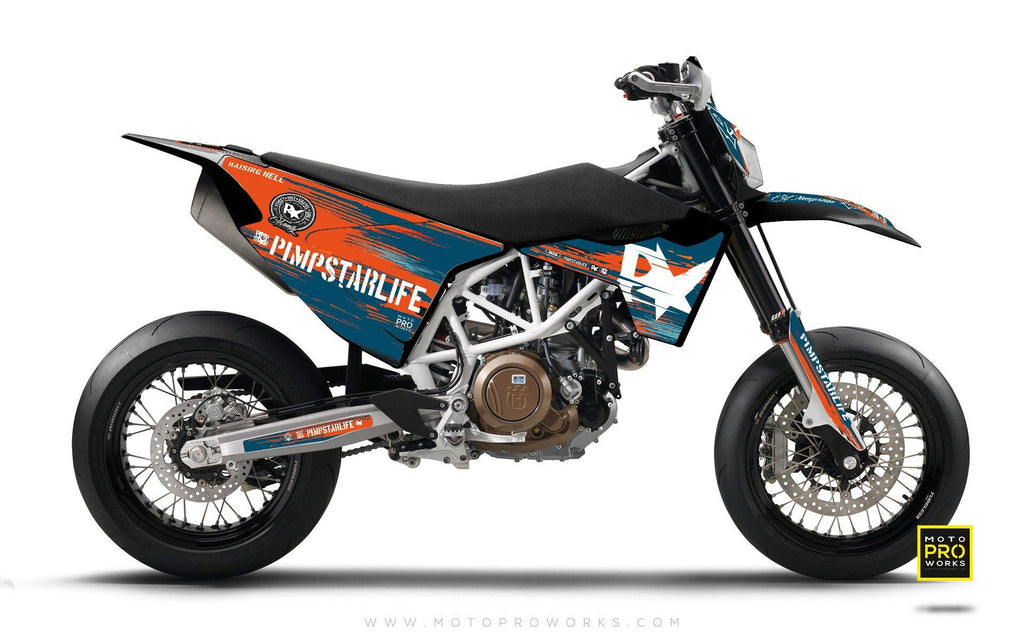 "Husqvarna 2017 GRAPHIC KIT - Pimpstarlife ""HELLION"" (blue) - MotoProWorks 