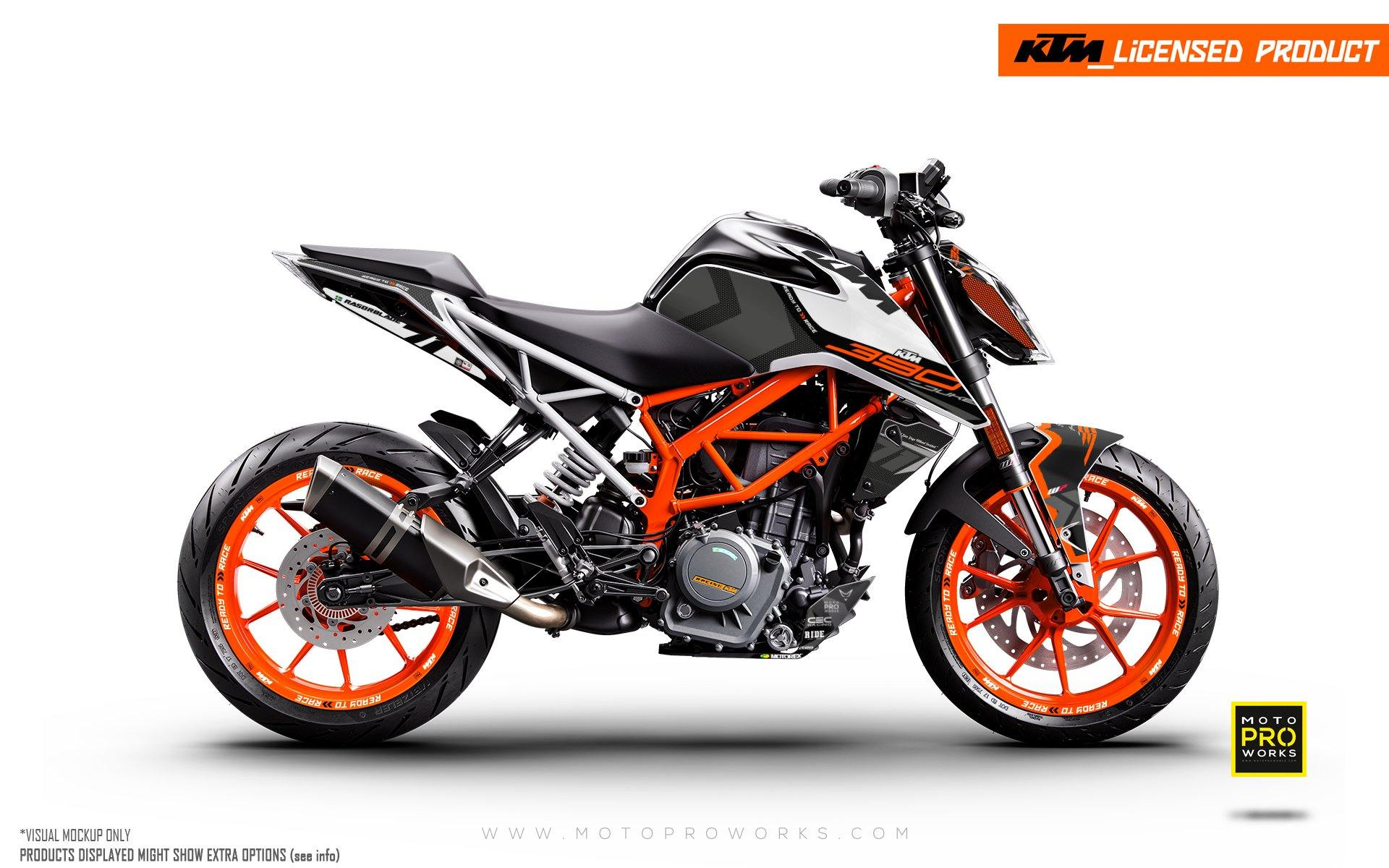 "KTM 125/200/250/390 Duke GRAPHIC KIT - ""Rasorblade"" (Black/Orange)"