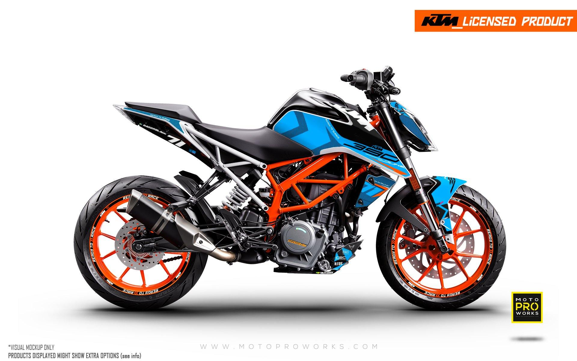 "KTM 125/200/250/390 Duke GRAPHIC KIT - ""Rasorblade"" (Blue)"