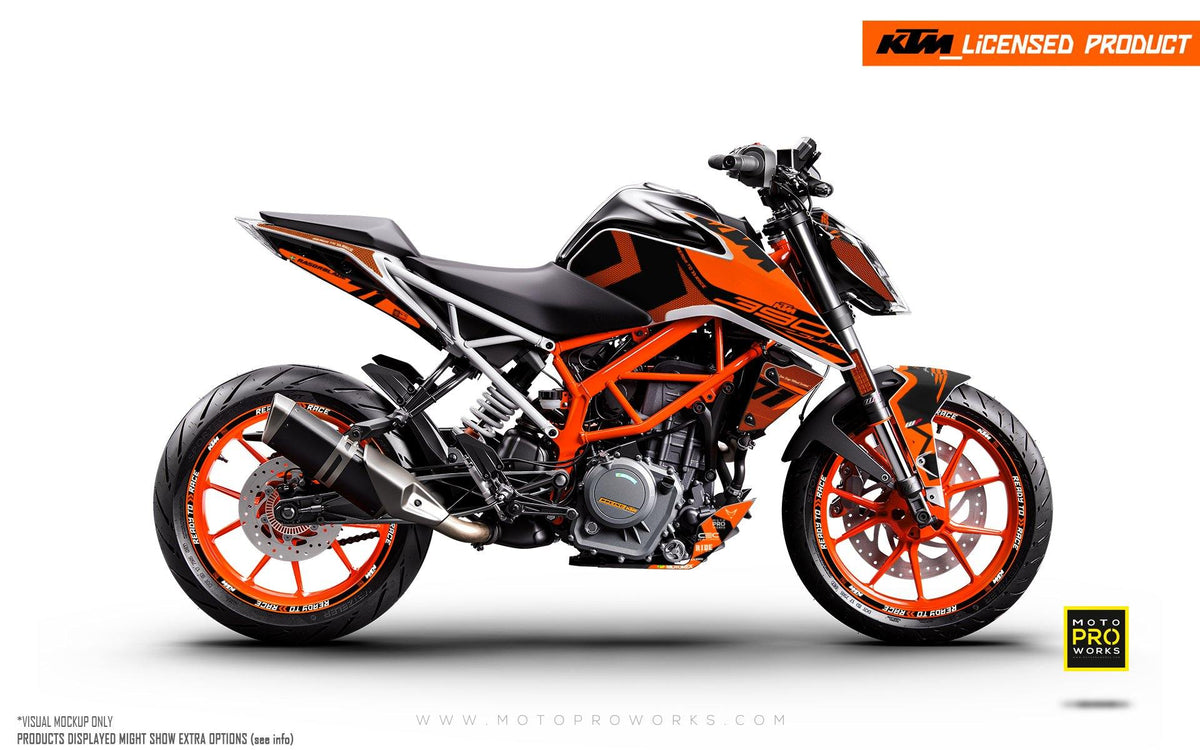 "KTM 125/200/250/390 Duke GRAPHIC KIT - ""Rasorblade"" (Orange)"
