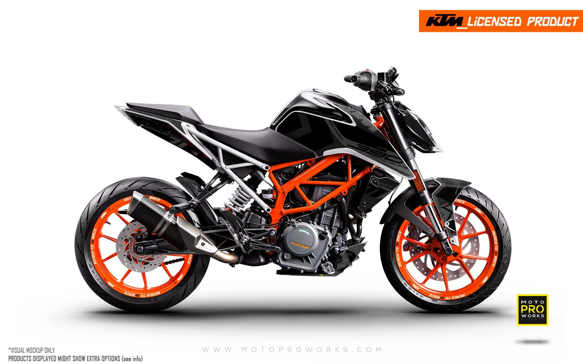 "KTM 125/200/250/390 Duke GRAPHIC KIT - ""Rasorblade"" (Stealth)"