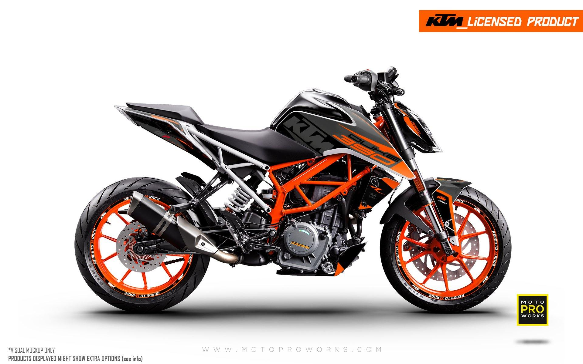 "KTM 125/200/250/390 Duke GRAPHIC KIT - ""Torque"" (Black/Orange)"