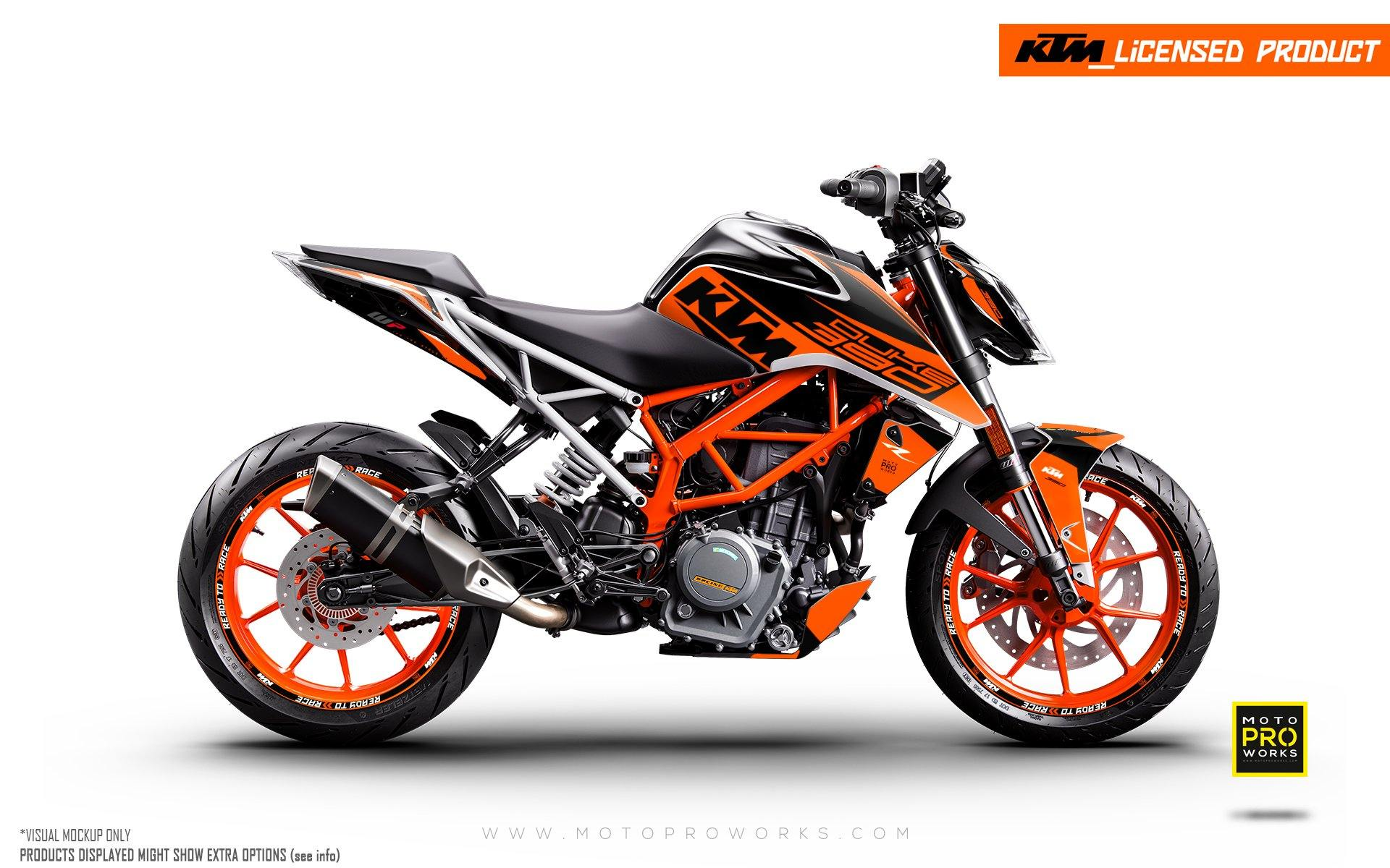 "KTM 125/200/250/390 Duke GRAPHIC KIT - ""Torque"" (Orange)"