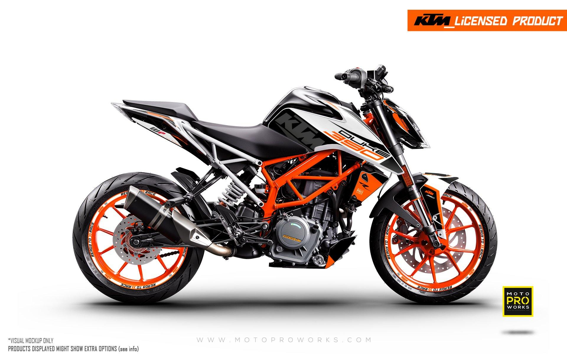 "KTM 125/200/250/390 Duke GRAPHIC KIT - ""Torque"" (White/Black/Orange)"