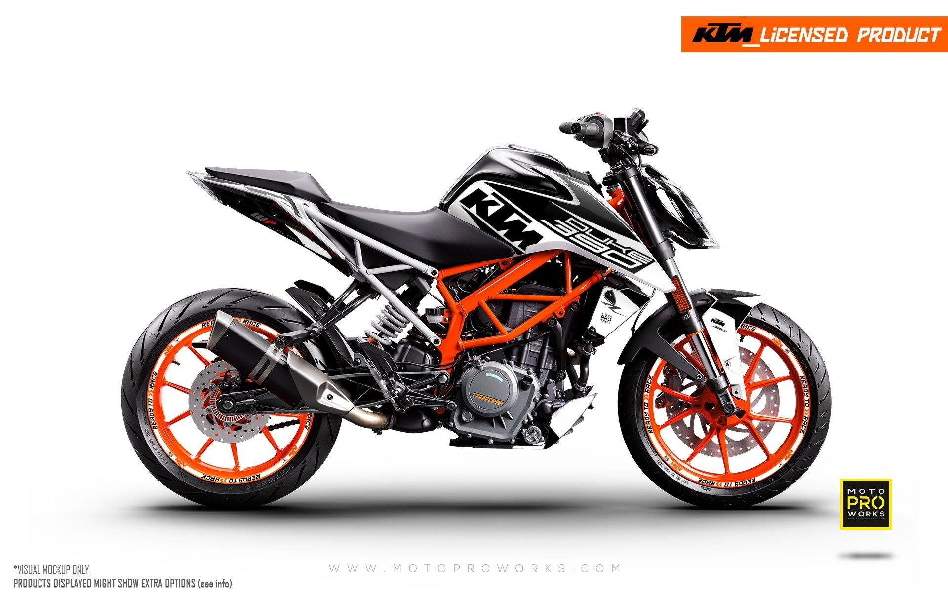 "KTM 125/200/250/390 Duke GRAPHIC KIT - ""Torque"" (White/Black)"
