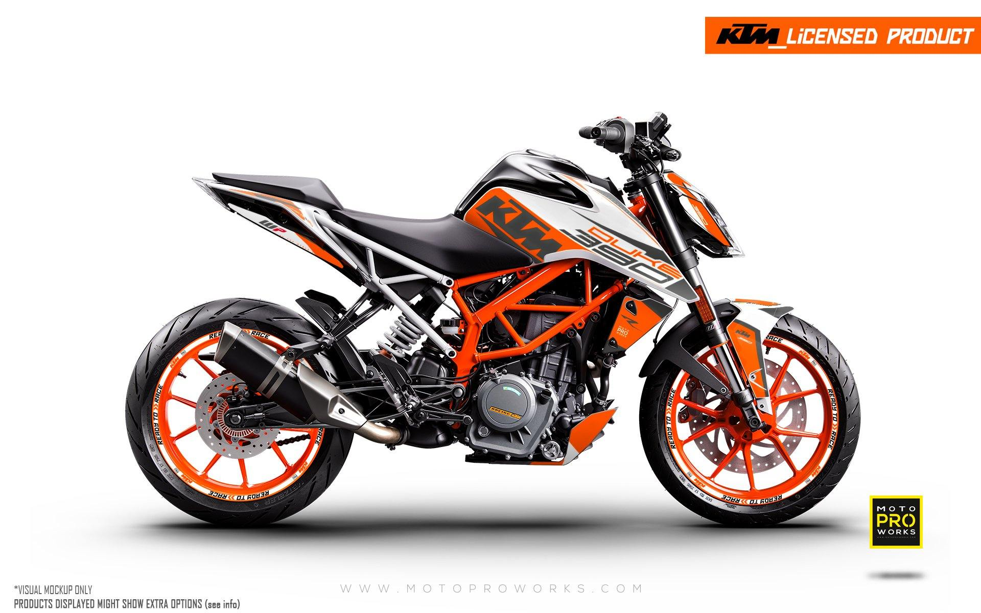 "125/200/250/390 Duke GRAPHIC KIT - ""Torque"" (White/Orange)"
