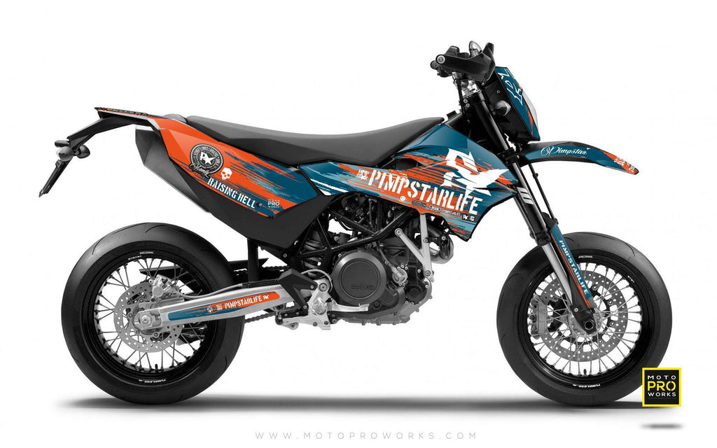 "KTM GRAPHIC KIT - Pimpstarlife ""HELLION"" (blue) - MotoProWorks 