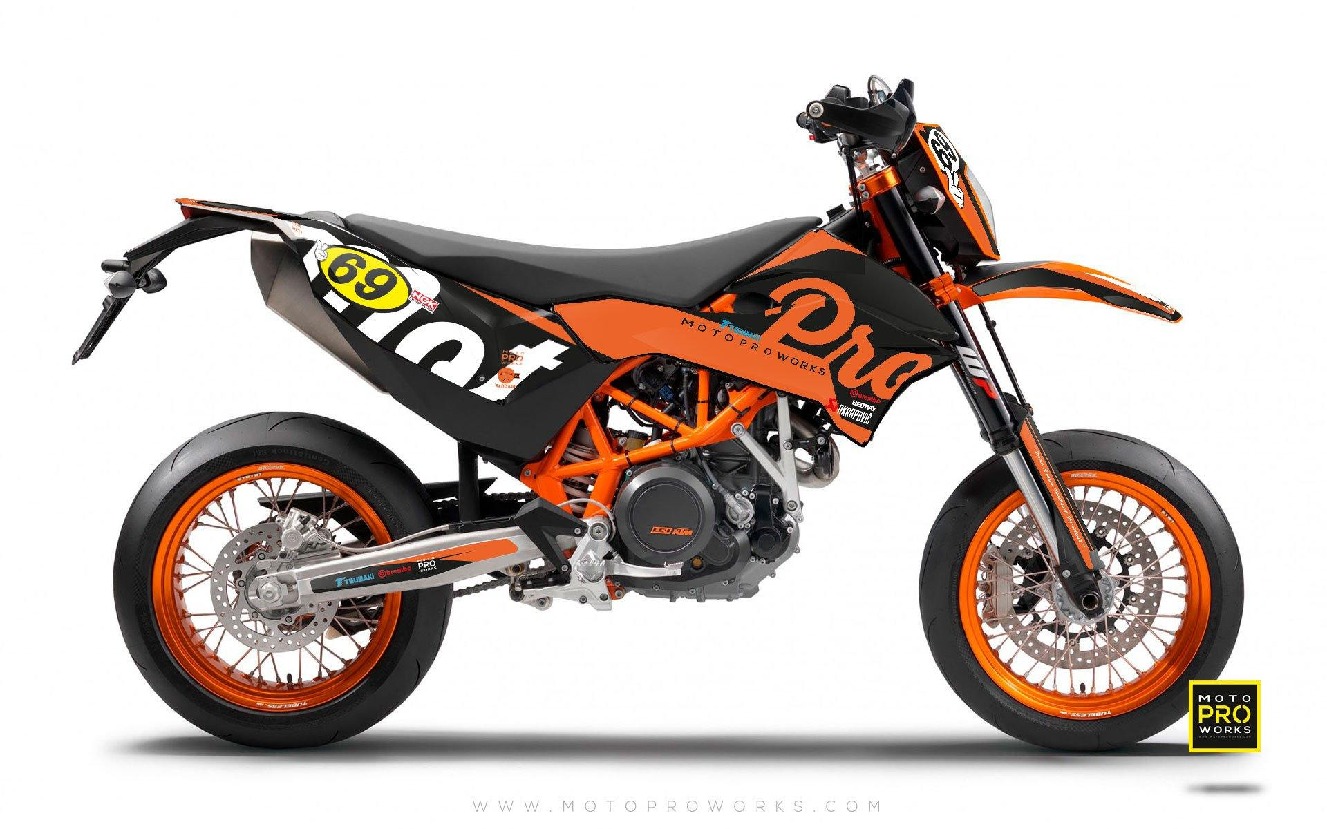 "KTM GRAPHIC KIT - ""MIDNIGHT"" (orange) - MotoProWorks 