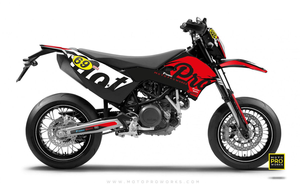 "KTM GRAPHIC KIT - ""MIDNIGHT"" (red) - MotoProWorks 