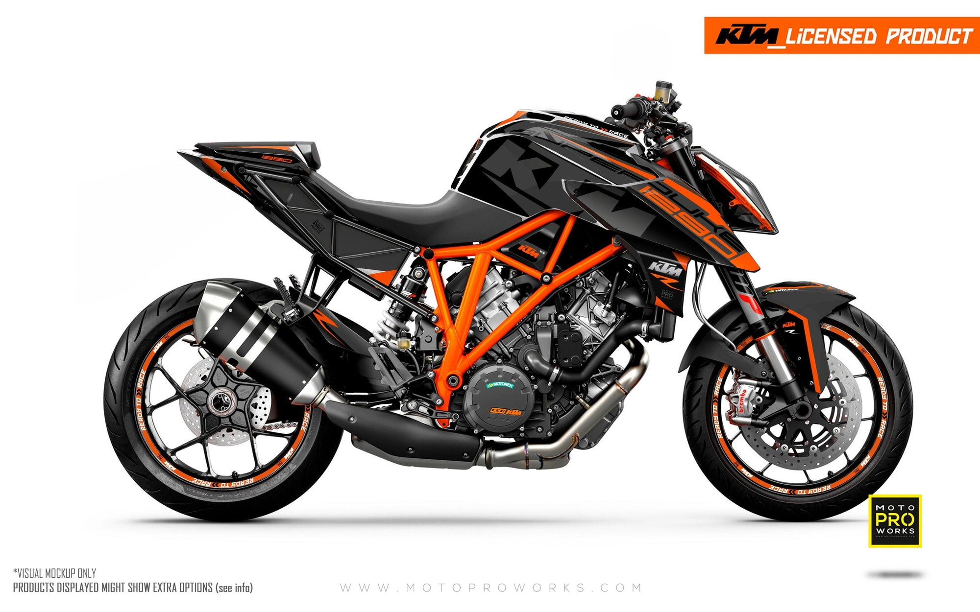 "KTM 1290 Super Duke R GRAPHIC KIT - ""Torque"" (Black/Orange)"