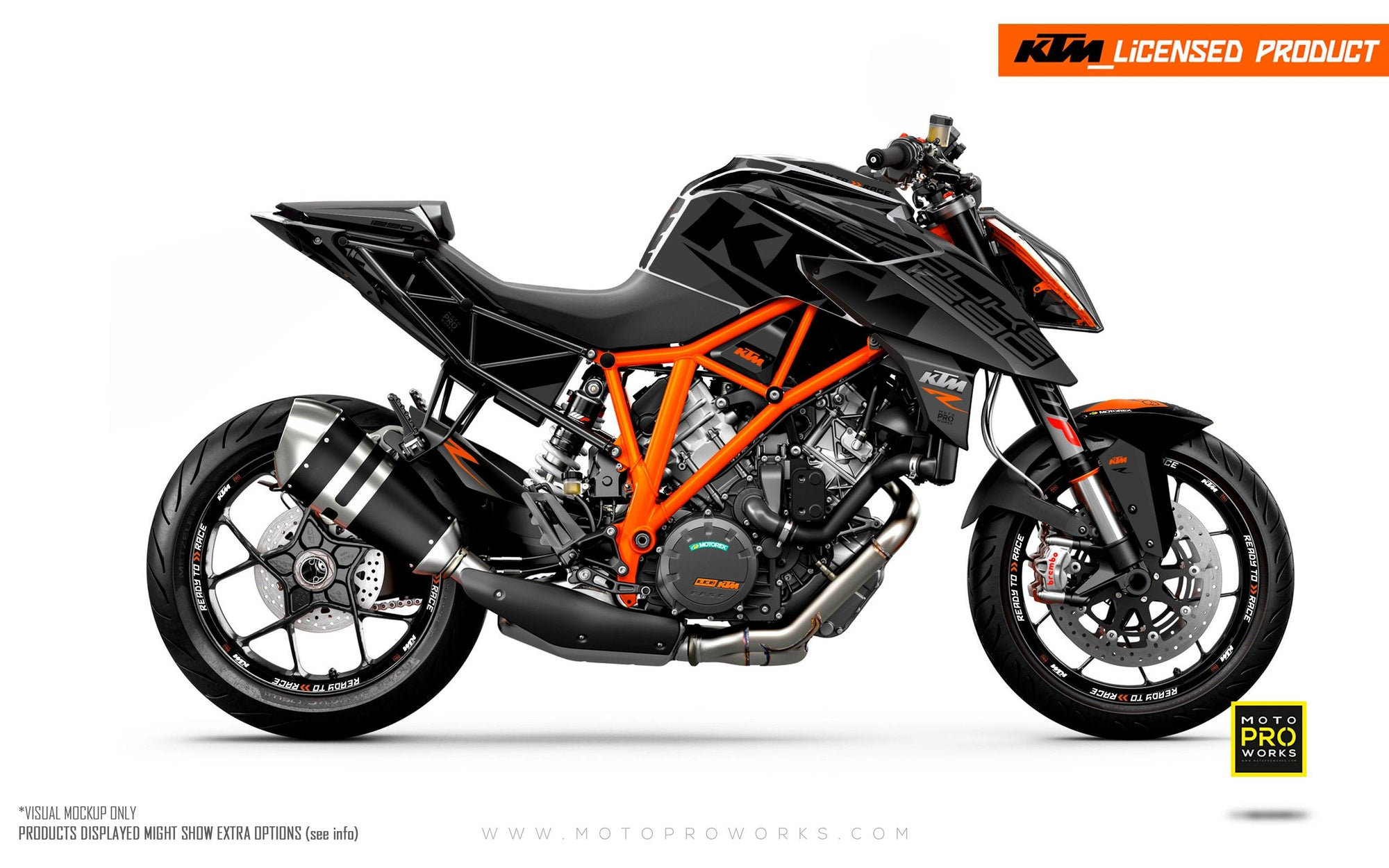 "KTM 1290 Super Duke R GRAPHIC KIT - ""Torque"" (Grey/black)"