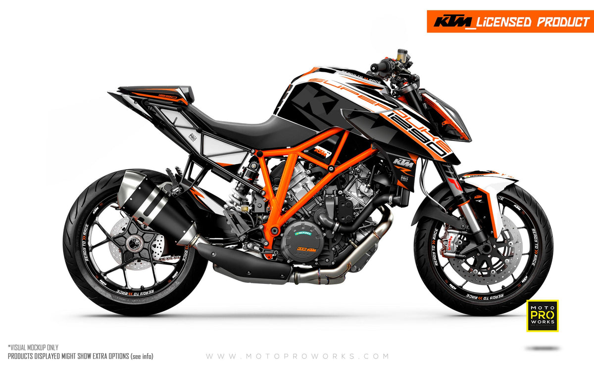 "KTM 1290 Super Duke R GRAPHIC KIT - ""Torque"" (White/Black/Orange)"