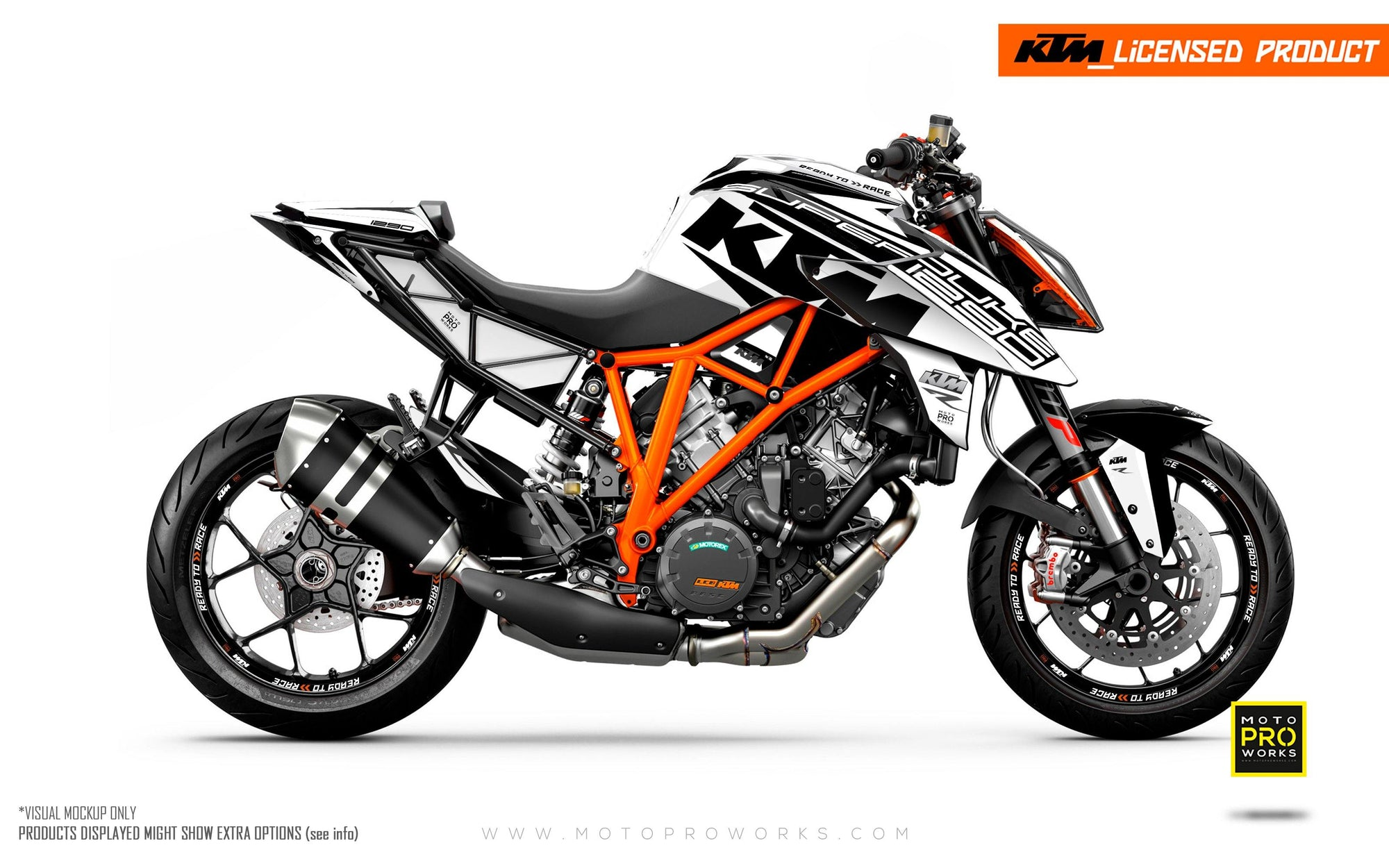 "KTM 1290 Super Duke R GRAPHIC KIT - ""Torque"" (White/Black)"