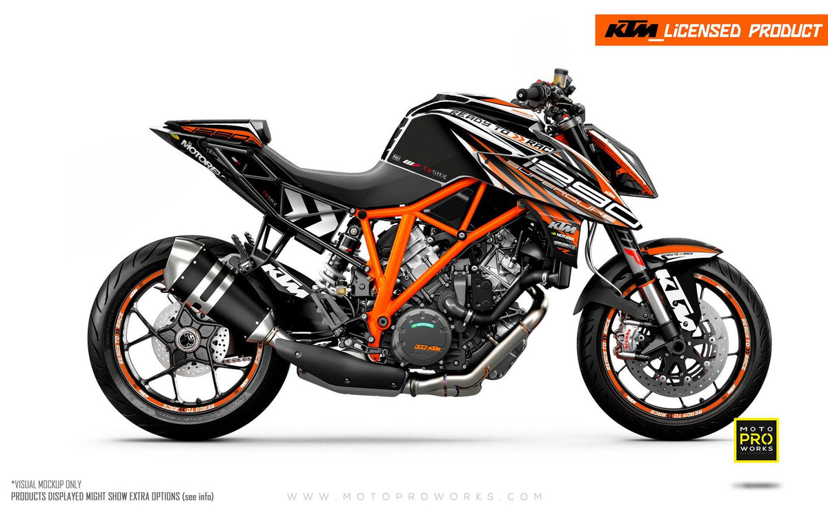 "KTM 1290 Super Duke R GRAPHIC KIT - ""Vortex"" (Black/Orange)"