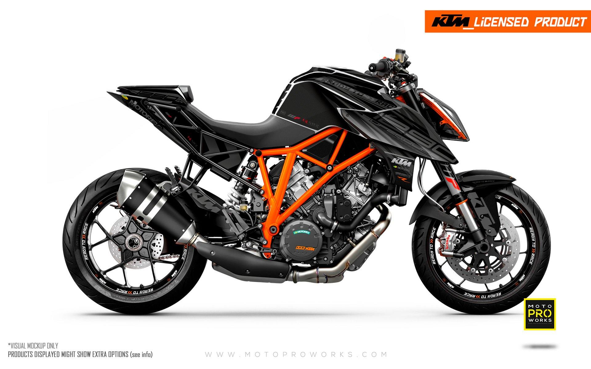 "KTM 1290 Super Duke R GRAPHIC KIT - ""Vortex"" (Black)"