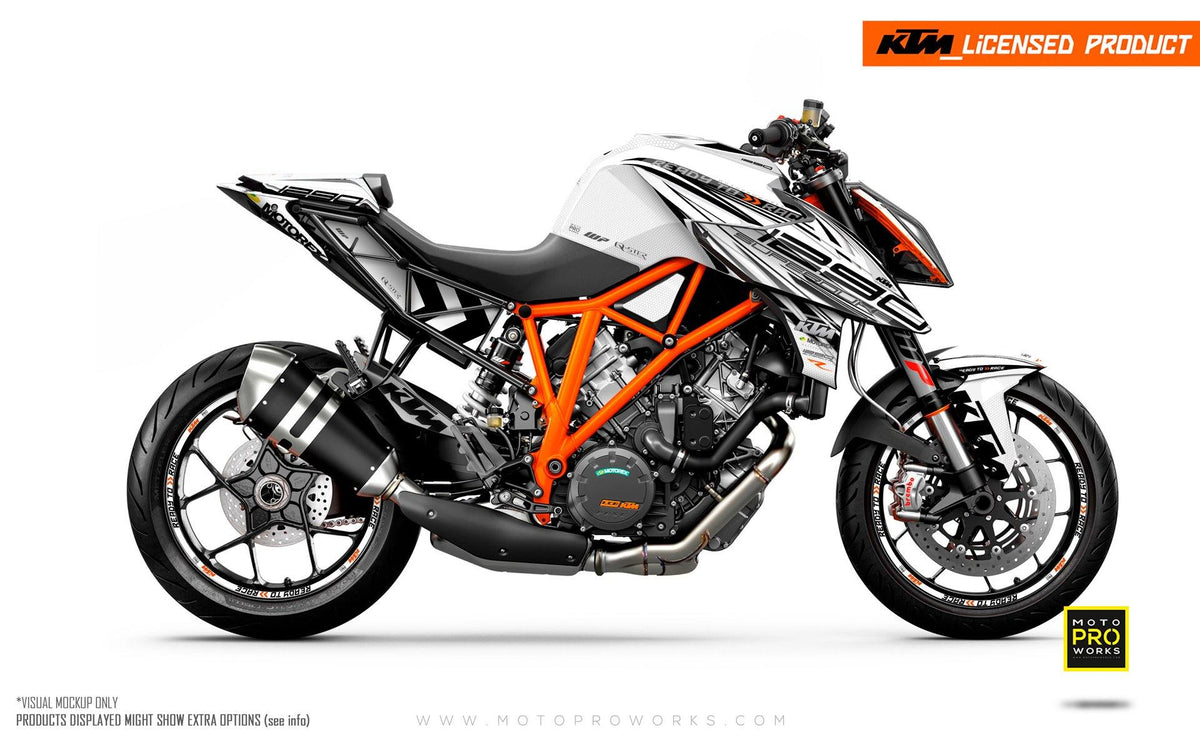 "KTM 1290 Super Duke R GRAPHIC KIT - ""Vortex"" (White)"