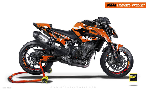 "KTM 790 Duke GRAPHIC KIT - ""Camouflage"" (Orange) - MotoProWorks 