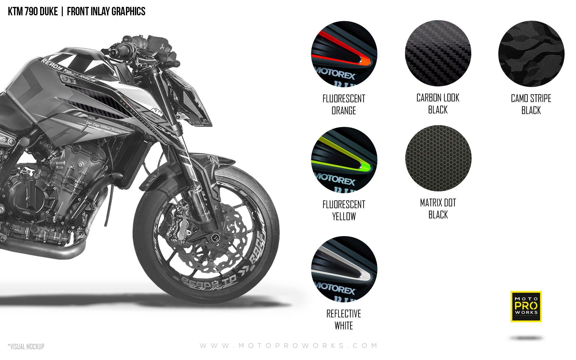 Front Inlay Graphics - KTM 790 Duke - MotoProWorks | Decals and Bike Graphic kit