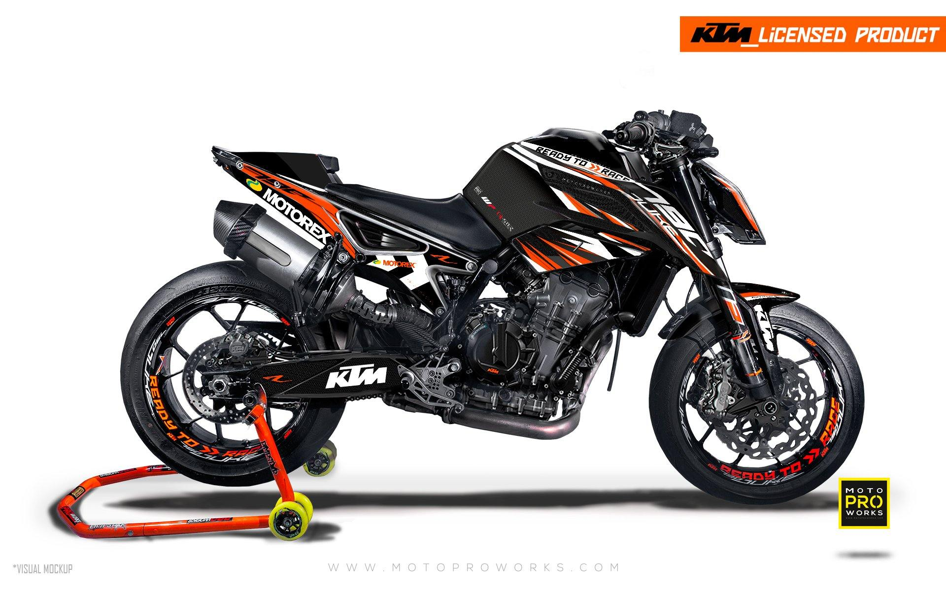 "KTM 790 Duke GRAPHIC KIT - ""Vortex"" (Black/Orange)"