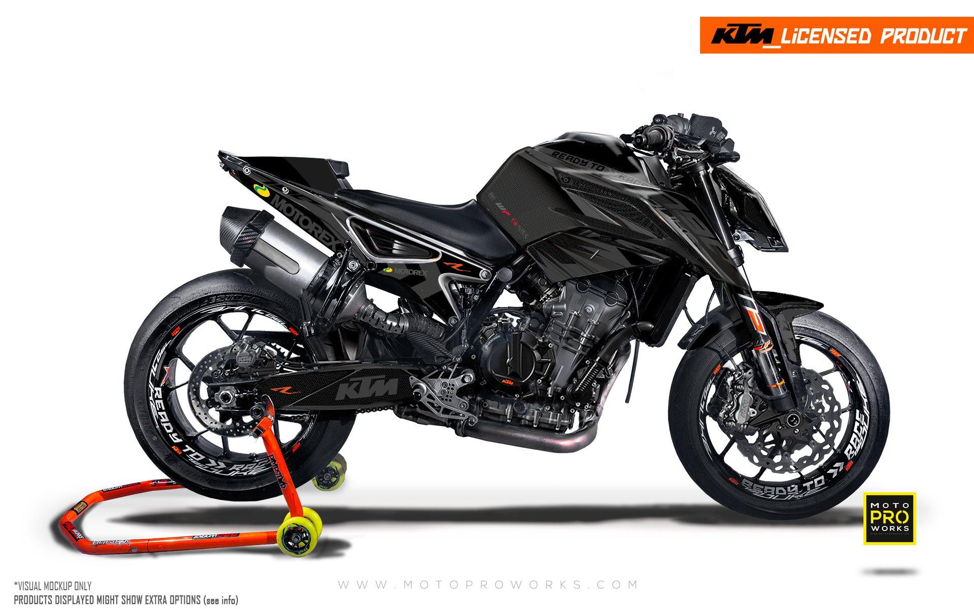 "KTM 790 Duke GRAPHIC KIT - ""Vortex"" (Black)"