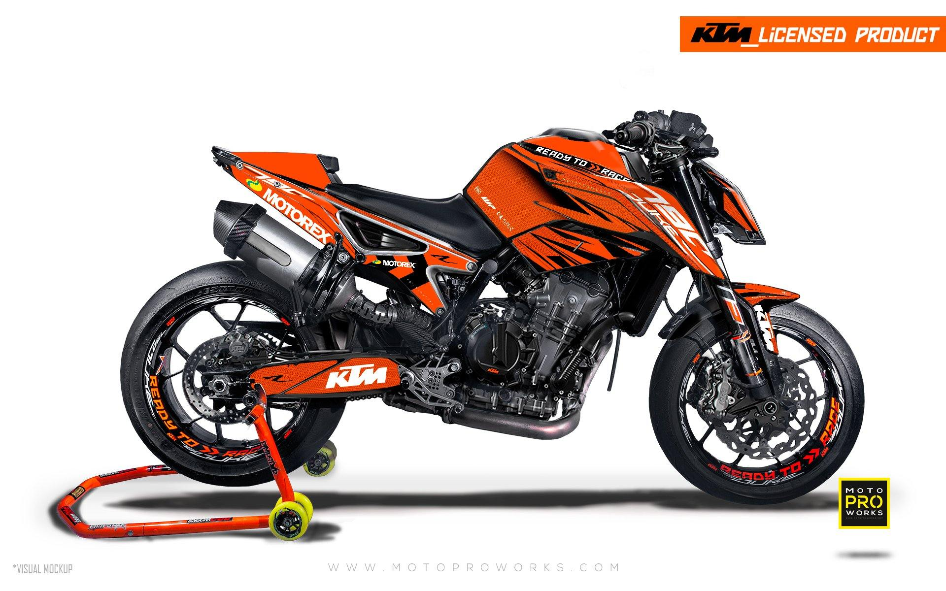 "KTM 790 Duke GRAPHIC KIT - ""Vortex"" (Orange)"