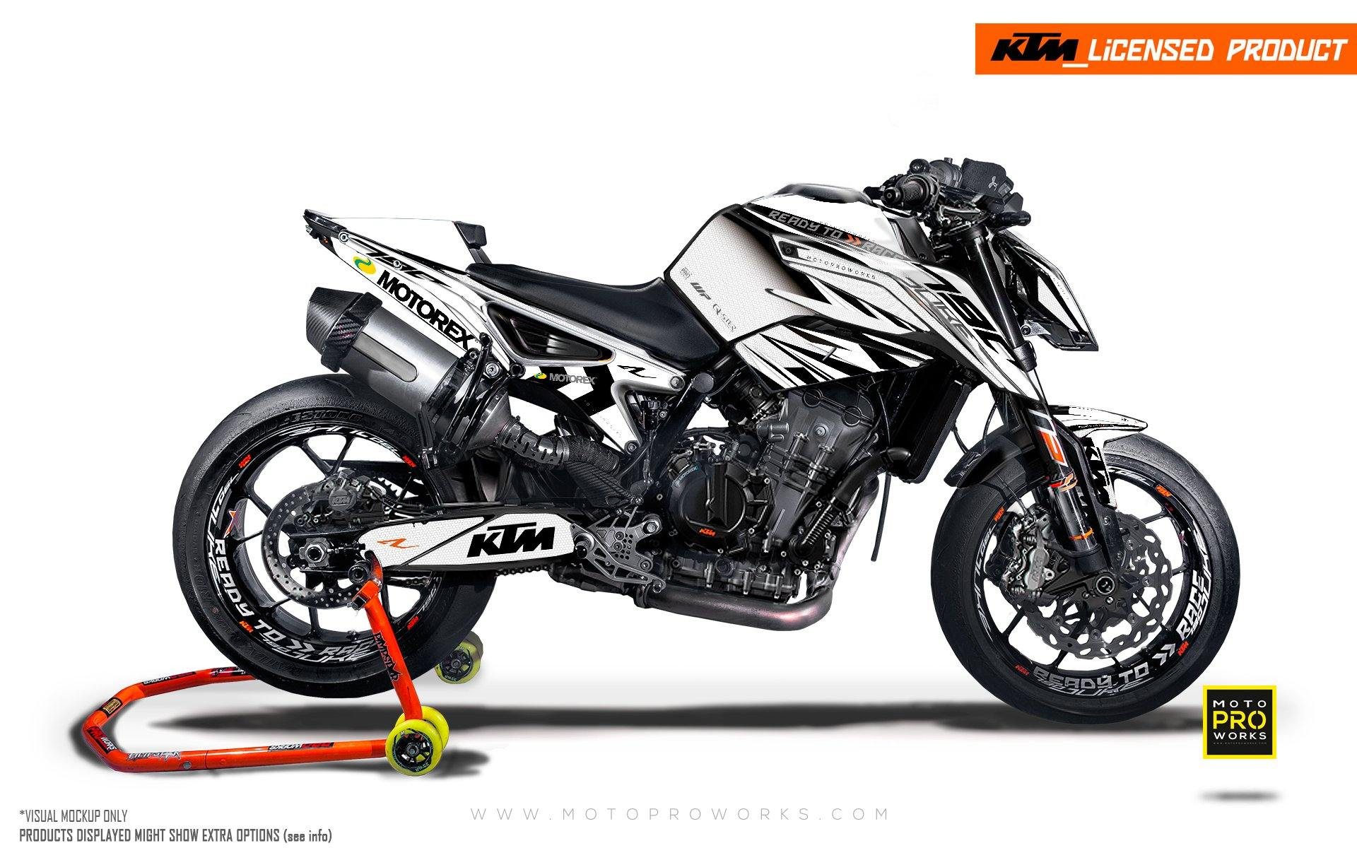 "KTM 790 Duke GRAPHIC KIT - ""Vortex"" (White)"